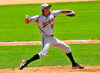 15 July 2010: Aberdeen IronBirds' pitcher Jose Barajas in action against the Vermont Lake Monsters at Centennial Field in Burlington, Vermont. The Lake Monsters rallied in the bottom of the 9th inning to defeat the IronBirds 7-6 notching their league leading 20th win of the 2010 NY Penn League season. Mandatory Credit: Ed Wolfstein Photo