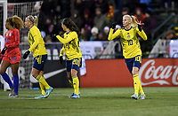 COLUMBUS, OH - NOVEMBER 07: Sofia Jakobsson #10 and Nathalie Bjorn #5 of Sweden celebrate a Swedish goal during a game between Sweden and USWNT at MAPFRE Stadium on November 07, 2019 in Columbus, Ohio.