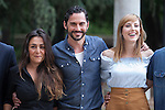 Spanish actor and film director Paco Leon (2L) poses with actresses Candela Pena and Natalia de Molina during `Kiki´ film production in Madrid, Spain. August 31, 2015. (ALTERPHOTOS/Victor Blanco)