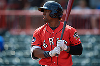 Erie SeaWolves left fielder Christin Stewart (35) on deck during a game against the Reading Fightin Phils on May 18, 2017 at UPMC Park in Erie, Pennsylvania.  Reading defeated Erie 8-3.  (Mike Janes/Four Seam Images)