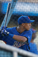 Carlos Gomez of the New York Mets during batting practice before a game from the 2007 season at Dodger Stadium in Los Angeles, California. (Larry Goren/Four Seam Images)