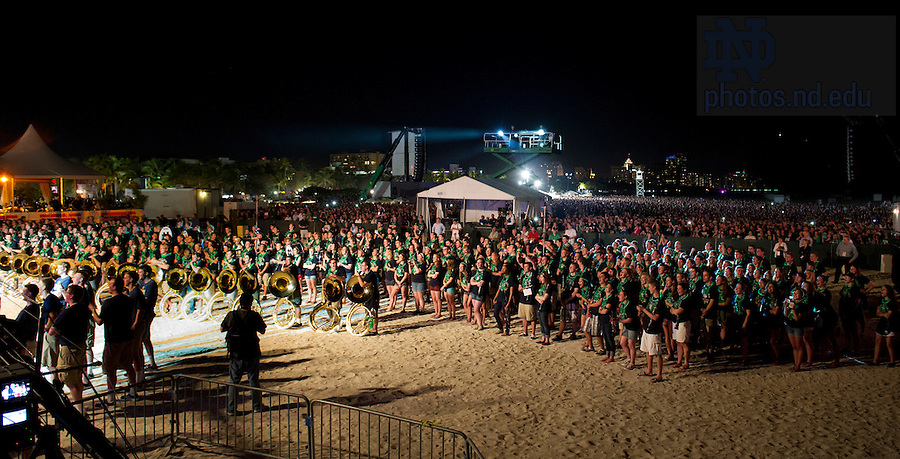 Jan 5, 2013; Alumni and fans gather to watch the Notre Dame pep rally on South Beach. Notre Dame will be squaring off against the Alabama Crimson Tide in the 2013 BCS National Championship Monday night. Photo by Barbara Johnston/University of Notre Dame..