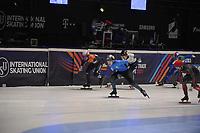 SPEEDSKATING: DORDRECHT: 06-03-2021, ISU World Short Track Speedskating Championships, QF 500m Men, Sjinkie Knegt (NED), Adil Galiakmetov (UKR), Charles Hamelin (CAN), ©photo Martin de Jong