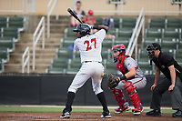 Micker Adolfo (27) of the Kannapolis Intimidators at bat against the Hagerstown Suns at Kannapolis Intimidators Stadium on June 14, 2017 in Kannapolis, North Carolina.  The Intimidators defeated the Suns 10-1 in game two of a double-header.  (Brian Westerholt/Four Seam Images)