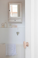 Behind the kitchen is the bathroom. The wall-mounted cabinet is from a second-hand market in Amsterdam