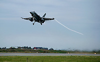 Spanish F/A-18 Hornet take off. BOLD AVENGER 2007 (BAR 07), a NATO  air exercise at Ørland Main Air Station, Norway. BAR 07 involved air forces from 13 NATO member nations: Belgium, Canada, the Czech Republic, France, Germany, Greece, Norway, Poland, Romania, Spain, Turkey, the United Kingdom and the United States of America. The exercise was designed to provide training for units in tactical air operations, involving over 100 aircraft, including combat, tanker and airborne early warning aircraft and about 1,450 personnel.