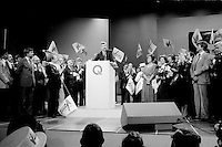 FILE PHOTO : Victoire de Pierre-Marc Johnson lors du vote final de la course à la chefferie du Parti Québécois, le 29 septembre 1985<br /> <br /> PHOTO : Denis Alix -  Agence Quebec Presse