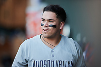 Andres Chaparro (22) of the Hudson Valley Renegades is all smiles after hitting a home run against the Winston-Salem Dash at Truist Stadium on August 28, 2021 in Winston-Salem, North Carolina. (Brian Westerholt/Four Seam Images)