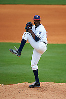 NW Arkansas Naturals pitcher Ali Williams (35) delivers a pitch during a game against the San Antonio Missions on May 31, 2015 at Arvest Ballpark in Springdale, Arkansas.  NW Arkansas defeated San Antonio 3-1.  (Mike Janes/Four Seam Images)