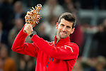 Serbian Novak Djokovic with the championship awards during  TPA Finals Mutua Madrid Open Tennis 2016 in Madrid, May 08, 2016. (ALTERPHOTOS/BorjaB.Hojas)