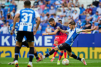 12th September 2021: Barcelona, Spain:  Yannick Carrasco of Atletico de Madrid shoots at goal during the Liga match between RCD Espanyol and Atletico de Madrid at RCDE Stadium in Cornella, Spain.