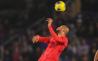 ORLANDO, FL - NOVEMBER 15: John Brooks #5 of the United States heads a ball during a game between Canada and USMNT at Exploria Stadium on November 15, 2019 in Orlando, Florida.