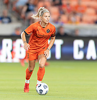HOUSTON, TX - SEPTEMBER 10: Rachel Daly #3 of the Houston Dash brings the ball up the field during a game between Chicago Red Stars and Houston Dash at BBVA Stadium on September 10, 2021 in Houston, Texas.