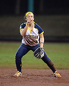 Michigan Wolverines Softball infielder Abby Ramirez (1) calls for the ball during a game against the University of South Florida Bulls on February 8, 2014 at the USF Softball Stadium in Tampa, Florida.  Michigan defeated USF 3-2.  (Copyright Mike Janes Photography)