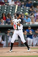 Designated hitter Mark Vientos (13 of the Columbia Fireflies bats in a game against the Lexington Legends on Thursday, June 13, 2019, at Segra Park in Columbia, South Carolina. Lexington won, 10-5. (Tom Priddy/Four Seam Images)