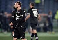 Calcio, semifinale di ritorno di Coppa Italia: Lazio vs Juventus. Roma, stadio Olimpico, 29 gennaio 2013..Juventus midfielder Claudio Marchisio reacts after Lazio scored the winning goal during the Italy Cup football semifinal return leg match between Lazio and Juventus at Rome's Olympic stadium, 29 January 2013. Lazio won 2-1 to reach the final match scheduled on May..UPDATE IMAGES PRESS/Riccardo De Luca
