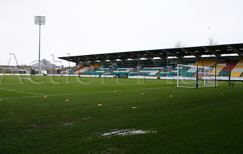 15th November 2020; Tallaght Stadium, Dublin, Leinster, Ireland; 2021 Under 21 European Championships Qualifier, Ireland Under 21 versus Iceland U21; Puddles of water form around the pitch at Tallaght Stadium after heavy rain overnight in Dublin