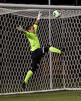 The Winthrop University Eagles lose 2-1 in a Big South contest against the Campbell University Camels.  Goalkeeper Ethan Hall (1) blocks a shot but loses control of the rebound.