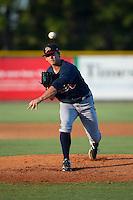 Danville Braves starting pitcher Trevor Belicek (38) in action against the Burlington Royals at Burlington Athletic Park on August 13, 2015 in Burlington, North Carolina.  The Braves defeated the Royals 6-3. (Brian Westerholt/Four Seam Images)