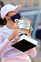 10th October 2020, Roland Garros, Paris, France; French Open tennis, Ladies singles final 2020; Iga Swiatek celebrates with trophy after winning the match