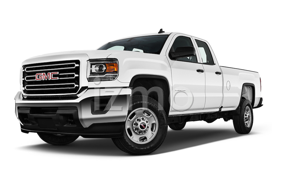 Stock pictures of low aggressive front three quarter view of 2018 GMC Sierra-2500HD 2WD-Double-Cab-Long-Box 4 Door Pick-up Low Aggressive