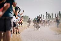 Tom Dumoulin (NED/Sunweb) leading the peloton on pavé sector #3<br /> <br /> Stage 9: Arras Citadelle > Roubaix (154km)<br /> <br /> 105th Tour de France 2018<br /> ©kramon