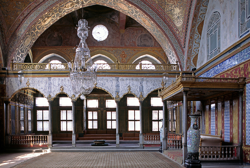 The Sultans Dais in the recieving hall inside The Harem which housed 1200 harem women in 1575 - Topkapi Palace, Istanbul