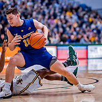 9 February 2019: University at Albany Great Dane Guard Cameron Healy, a Redshirt Freshman from Sydney, Australia, in second-half action against the University of Vermont Catamounts at Patrick Gymnasium in Burlington, Vermont. The Catamounts defeated the Danes 67-49 in their America East matchup. Mandatory Credit: Ed Wolfstein Photo *** RAW (NEF) Image File Available ***