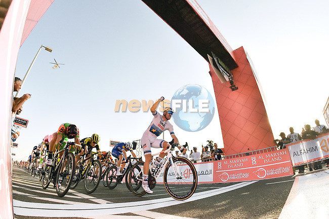European Champion Alexander Kristoff (NOR) UAE Team Emirates wins Stage 1 of the 2018 Abu Dhabi Tour, Al Fahim Stage running 189km from Madinat Zayed to Adnoc School, Abu Dhabi, United Arab Emirates. 21st February 2018.<br /> Picture: LaPresse/Massimo Paolone | Cyclefile<br /> <br /> <br /> All photos usage must carry mandatory copyright credit (© Cyclefile | LaPresse/Massimo Paolone)