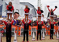 ATLANTA, GA - DECEMBER 7: Georgia cheerleaders and fans at ESPN College Game Day during a game between Georgia Bulldogs and LSU Tigers at Mercedes Benz Stadium on December 7, 2019 in Atlanta, Georgia.
