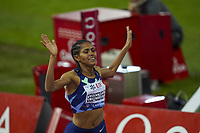 26th August 2021; Lausanne, Switzerland;  Gebreezibeher of Great Britain wins the womens 1500m during Diamond League athletics meeting  at La Pontaise Olympic Stadium in Lausanne, Switzerland.