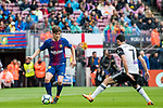 Sergi Roberto Carnicer of FC Barcelona is tackled by GonCalo Manuel Ganchinho Guedes of Valencia CF during the La Liga 2017-18 match between FC Barcelona and Valencia CF at Camp Nou on 14 April 2018 in Barcelona, Spain. Photo by Vicens Gimenez / Power Sport Images