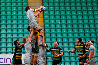 13th March 2021; Franklin's Gardens, Northampton, East Midlands, England; Premiership Rugby Union, Northampton Saints versus Sale Sharks; Lood de Jager of Sale Sharks takes a line out
