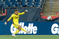 FOXBOROUGH, MA - AUGUST 26: Joe Rice #51 of New England Revolution II clears the ball during a game between Greenville Triumph SC and New England Revolution II at Gillette Stadium on August 26, 2020 in Foxborough, Massachusetts.