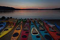 Kayaks at Twilight, Lake Sammamish State Park, Issaquah, Washington State, WA, America, USA.