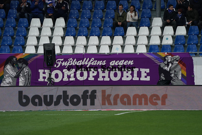 Banner Fußballfans gegen Homophobie - 29.02.2020: SV Darmstadt 98 vs. 1. FC Heidenheim, Stadion am Boellenfalltor, 24. Spieltag 2. Bundesliga<br /> <br /> DISCLAIMER: <br /> DFL regulations prohibit any use of photographs as image sequences and/or quasi-video.