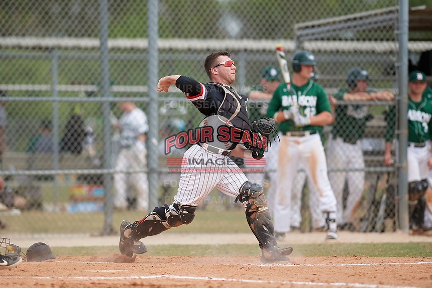 Edgewood Eagles catcher Jacob Popp (20) during a game against the Babson Beavers on March 18, 2019 at Lee County Player Development Complex in Fort Myers, Florida.  Babson defeated Edgewood 23-7.  (Mike Janes/Four Seam Images)