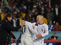 Michael Bradley and Jozy Altidore celebrate U.S. win. The United States won Group C of the 2010 FIFA World Cup in dramatic fashion, 1-0, over Algeria in Pretoria's Loftus Versfeld Stadium, Wednesday, June 23rd..