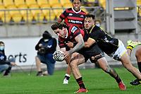 Josh McKay of Canterbury scores a try during the Bunnings NPC - Wellington v Canterbury at Sky Stadium, Wellington, New Zealand on Friday 8 October 2021.<br /> Photo by Masanori Udagawa. <br /> www.photowellington.photoshelter.comto