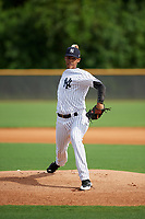 GCL Yankees East relief pitcher Luis Rijo (15) delivers a pitch during the first game of a doubleheader against the GCL Blue Jays on July 24, 2017 at the Yankees Minor League Complex in Tampa, Florida.  GCL Blue Jays defeated the GCL Yankees East 6-3 in a game that originally started on July 8th.  (Mike Janes/Four Seam Images)