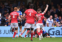 25th September 2021; The Recreation Ground, Bath, Somerset, England; Gallagher Premiership Rugby, Bath versus Newcastle Falcons; Newcastle Falcons celebrate a try from Iwan Stephens of Newcastle Falcons