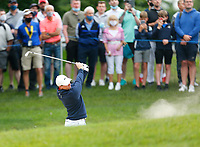 2nd July 2021; Mount Juliet Golf Club, Kilkenny, Ireland; Dubai Duty Free Irish Open Golf, Day Two; Rory Mcilroy of Northern Ireland takes his second shot from the 10th fairway bunker