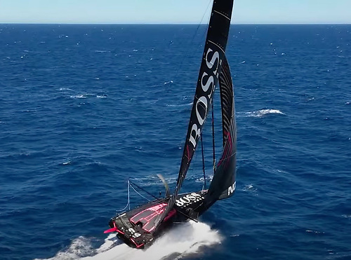 Hugo Boss is back for the Fastnet Race with two new rudders installed
