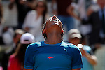 Rafa Nadal from Spain celebrates his victory at Madrid Open tennis tournament match against Grigor Dimitrov from Bulgary Republic in Madrid, Spain. May 08, 2015. (ALTERPHOTOS/Victor Blanco)