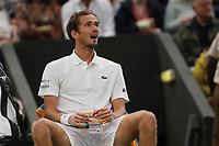 6th July 2021, Wimbledon, SW London, England; 2021 Wimbledon Championships, day 8;  Daniil Medvedev of Russia in a break during the mens singles fourth round match with Hubert Hurkacz of Poland