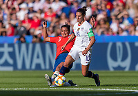 PARIS,  - JUNE 16: Carli Lloyd #10 dribbles during a game between Chile and USWNT at Parc des Princes on June 16, 2019 in Paris, France.