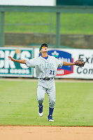 Lexington Legends second baseman Kenny Diekroeger (21) calls for a fly ball in shallow right field during the South Atlantic League game against the Kannapolis Intimidators at CMC-Northeast Stadium on July 31, 2013 in Kannapolis, North Carolina.  The Intimidators defeated the Legends 3-2.  (Brian Westerholt/Four Seam Images)