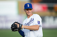 Tyler Straub (26) of the Burlington Royals warms up in the outfield prior to the game against the Bluefield Blue Jays at Burlington Athletic Stadium on June 28, 2016 in Burlington, North Carolina.  The Royals defeated the Blue Jays 4-0.  (Brian Westerholt/Four Seam Images)
