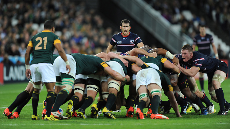 07 October 2015: Niku Kruger of USA shouts instructions during Match 31 of the Rugby World Cup 2015 between South Africa and USA - Queen Elizabeth Olympic Park, London, England (Photo by Rob Munro/CSM)
