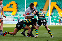 13th March 2021; Franklin's Gardens, Northampton, East Midlands, England; Premiership Rugby Union, Northampton Saints versus Sale Sharks; Lood de Jager of Sale Sharks is stopped by Lewis Ludlam and Fraser Dingwall of Northampton Saints